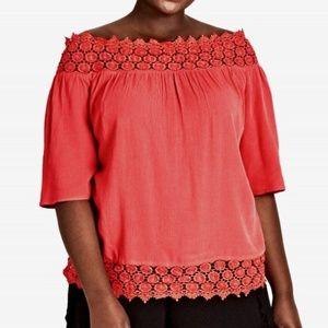 City Chic Coral Grace Off The Shoulder Crochet Top